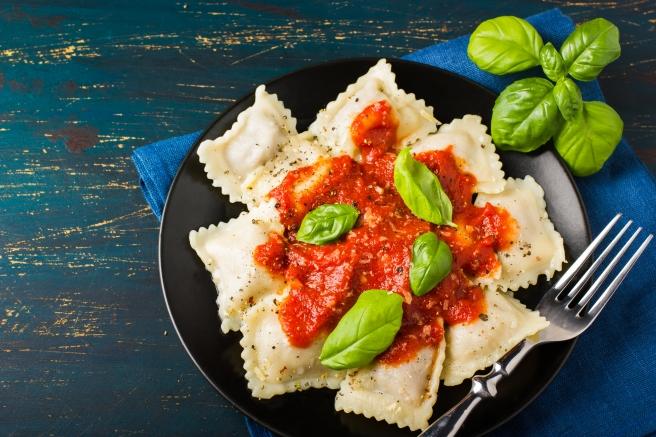 dreamstime_xxl_54831750 ravioli basil tomato sauce Italian food
